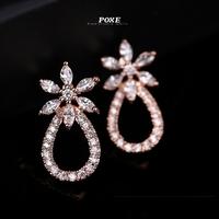 ZSE025 2014 New AAA Cubic Zirconia Flowers Stud Earrings Women fashion Jewelry POXE brincos Christmas