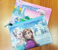 Hot A4 12pcs/lot Frozen Princess Elsa Stationary Pouch Pencil Case Pen File Bag Kids Gifts Free Shipping