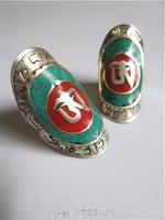 R201  Tibetan White Metal Copper Silver Turquoise OM rings Wholesale Nepal India Tibet jewel