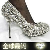 Luxury rhinestone handmade solid color diamond crystal gem white princess high-heeled wedding shoes