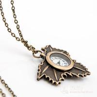 New cartoon Maple Leaf  retro pocket watch necklace