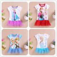 New 2014 Children Summer Frozen Dress Baby Girl Frozen Elsa's and Anna's Dress Children Clothes Cartoon Short Sleeve Dresses