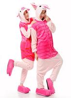Free Shipping Animal Romper Mens Ladies Fleece Suits Onsie Fancy Dress Costume Onesie Pajamas * Jiepi pig