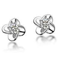 925 sterling silver earrings for women sterling silver earring Four leaf Clover zircon earings wholesale