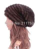 New Genuine Mink Fur Hat Cap Nature Knit Mink Fur Hat Fashion Women Headgear Free Shipping