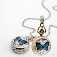 New Trumpet Butterfly enamel Pocket Watch vintage fashion  Pocket Watch necklace wholesale