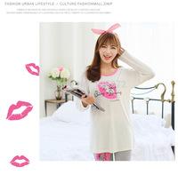 100% Cotton Lip prints Casual Pyjama For Sleep Winter Pijama Pajamas Set For Women Sleepwear Homewear Suit