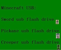 Wholesale Minecraft USBs Gift Sword usb flash drive 32GB 16GB 8GB 4GB Pickaxe usb Disk,Creeper usb,Free shipping by express