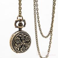 New small retro Crown Golden flip-Pocket Watch necklace sweater chain pocket watch