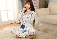 Retail Cure cartoon sweet girl nightclothes Winter Women's Pajamas Sets Sleepwear Set Lounge Homewear Long Sleeve Free shipping