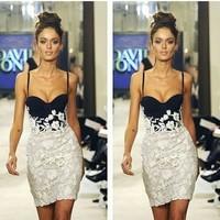 vestido de festa 2014 new desigual black and white lace Suspender dress sexy bandage dress casual summer dress