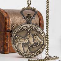 New Queen size horse retro flip Pocket Watch necklace