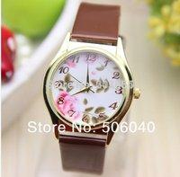New flower watch 1pcs/lot quartz watches golden case colorful womens pu leather band mens wristwatch vintage steampunk wholesale