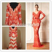 2015 Vestidos Real Sample Mermaid Deep V Neck Long Sleeves Sweep Train Red Luxury Appliques Bow Custom Prom Evening Dresse