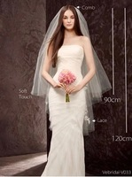 Free shipping!Super price two layers for 0.9m the first layer and 1.2m the second lace Wedding Veil ,Wedding Accessory
