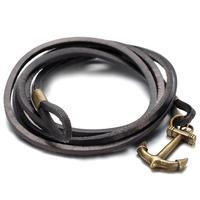 Mens Women Alloy Genuine Leather Bracelet Bangle, Vintage, Black, Anchor, B1398