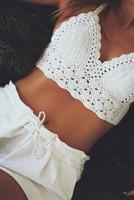 Double crocheted handmade crochet camisole bikini, knitted crop tops, sexy summer swimwear bikini set, fashion bra tops