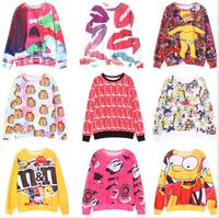 [Alice] 2014 hot wind western union style cartoon printing o neck women hoodies 12 different models good quality sweatshirts