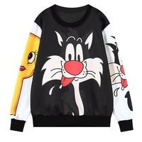 [Alice]right sleeve big yellow little chicken front and left sleeve big black cat o neck brand hoodie sweatshirt women wy0440