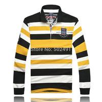 New Mens Long Sleeve Tee T shirts Casual Tops Fashion 2014 Brand Designer Men's Classic Striped Long Sleeves T Shirt Size:XXXL-M