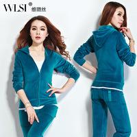 2014 new velvet sweat suits women Korean spring autumn plus size casual suits sportswear 13 color S M L XL XXL XXXL XXXXL A847
