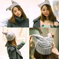 new 2014 devil knitted winter hats women beanie cute ox horn cap woman gorros