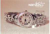 silver steel band women dress watches luxury brand  women rhinestone watches lady quartz watches vintage bracelet