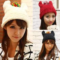 new 2014 devil knitted winter hats eemon horn knitting balaclava skullies and beanies women beanie for girls touca bonnet