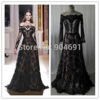 Real Sample 2015 Vestidos Mermaid Lace Scoop Long Sleeves Floor Length Applique Beaded Elegant Custom Evening Dresses Wone