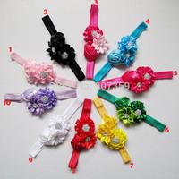Rose Flower Headband With Diamond For Girls Kids Hair Accessories Rhinestone Sequin Headwear Baby Christmas Headband  200pcs/lot