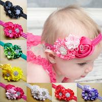 Rose Flower Headband With Diamond For Girls Kids Hair Accessories Rhinestone Sequin Headwear Baby Christmas Headband  300pcs/lot