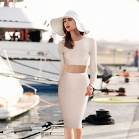 2014 New arrival Women's winter 2 two piece long sleeve red khaki black Bandage Evening Dress celebrity Party dropshipping HL