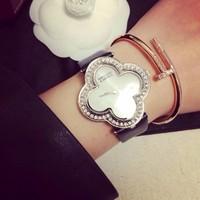 2014 women rhinestone watches leather strap women dress watches high quality  lady diamond wristwatch full steel white band