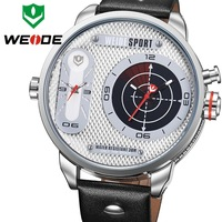 2014 New Sale WEIDE Watches Men Wristwatches Leather Strap 30M Waterproof  Quartz Mov't Two Time Zones relojes #WH3409White