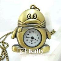 Hot selling  cartoon penguin pocket watch  new retro  pocket watch necklace