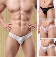 men's silky T-back man thongs lace high elasticity transparent underwear N-5