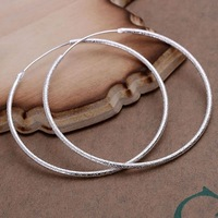 Simple Fashion Style Silver plated Sand Circle Earrings Jewellery mens 2014,Wholesale&Free shipping, SMTE044