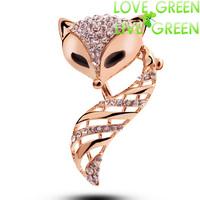 2014 new brooch high quality  fashion brand women accessories 18KGP austrian crystal rhinestones  fox Clip jewelry 5381