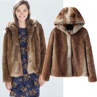 OME074 Women's new winter hoodies faux fur chinchilla lamb warm coat outerwear overcoat jackets