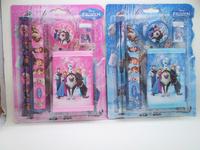 Frozen Pencil Princess Hot Sale Forzen Stationery Set Pencil + Ruler Wallet Student for Gift Sets Frozen Stationary 20sets/lot