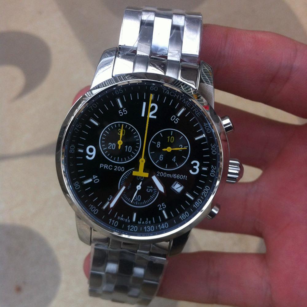 top quality Switzerland brand prc 200 stainless steel Chronograph japan import quartz wrist watch men sport watches(China (Mainland))