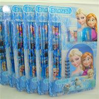 Hot Sale Frozen school supplies Children frozen stationery set 6pcs frozen pencil setFree shipping