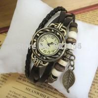 Free shipping new retro leaf watches 1pcs/lot quartz genuine leather men women cow band wristwatch vintage steampunk style watch