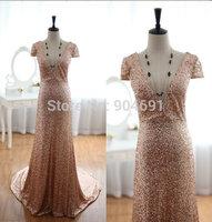 Real Sample 2015 Vestidos Mermaid Deep V Neck Short Sleeves Court Train Brown Sequins Women Party Long Evening Dresses Prom Dres