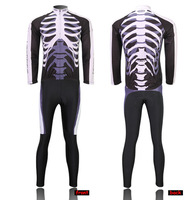 12PCS New Top quality Men's Long Sleeve Cycling Jersey Sets Wicking Breathable Fast Dry Skull Sports Mountain Bicycle Coat Pants