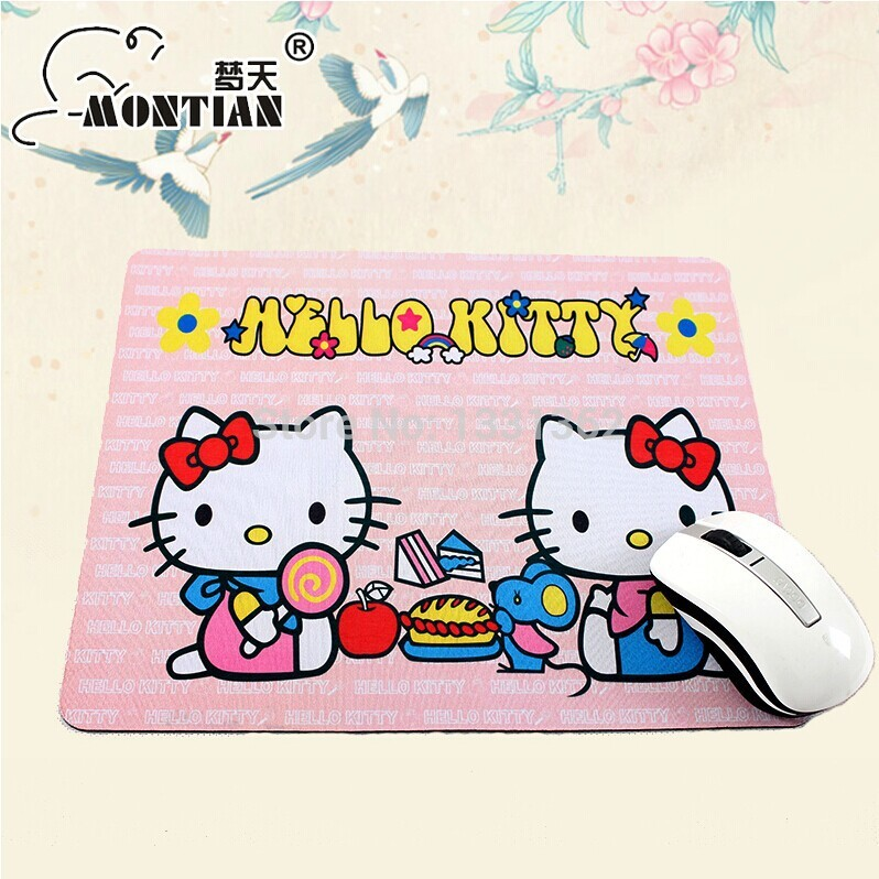 Free Shipping + New Style Large Size Creative Design Mouse Pad Hello Kitty Beautiful Pattern Mice Pad(China (Mainland))