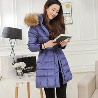 2014 winter large fur collar down coat medium-long female thickening slim women's outerwear female thin