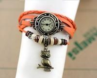 Free shipping retro owl watches 1pcs/lot handmade quartz leather watch wholesale men women cow band wristwatch vintage steampunk