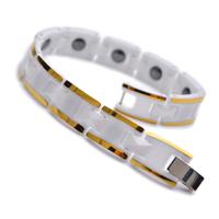"""10mm Gold & White Tungsten Magnetic Hematite Mens Bracelet 7.5"""" B783"""