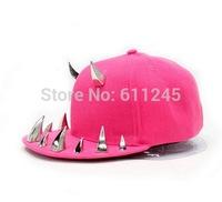 Min.order is usd15(mix order) Fashion New Hip Hop Cool Punk Horn Spikes Rivets Flat Brim Snapback Cap